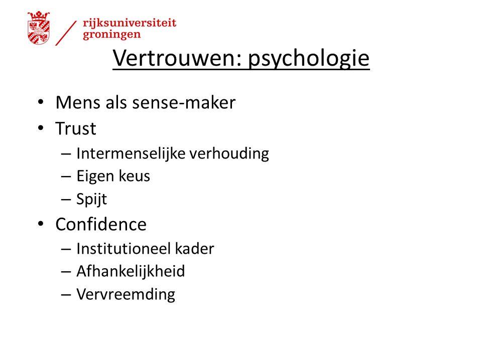 Vertrouwen: psychologie Mens als sense-maker Trust – Intermenselijke verhouding – Eigen keus – Spijt Confidence – Institutioneel kader – Afhankelijkheid – Vervreemding 3