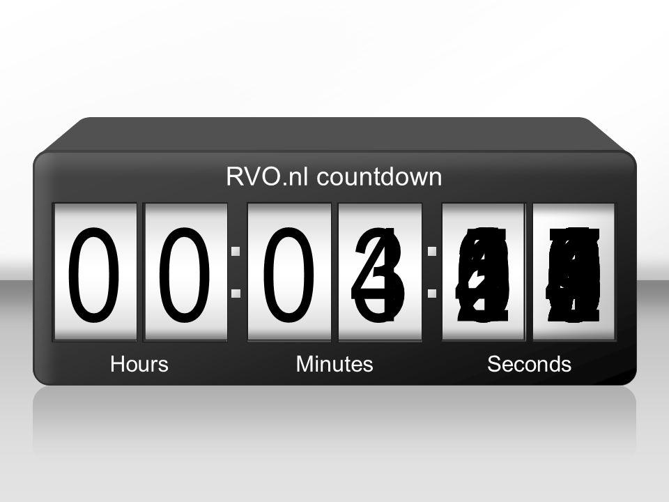 090 00 5 876543215 4 004987654321039876543210987654321021987654321098765432100 HoursMinutesSeconds RVO.nl countdown