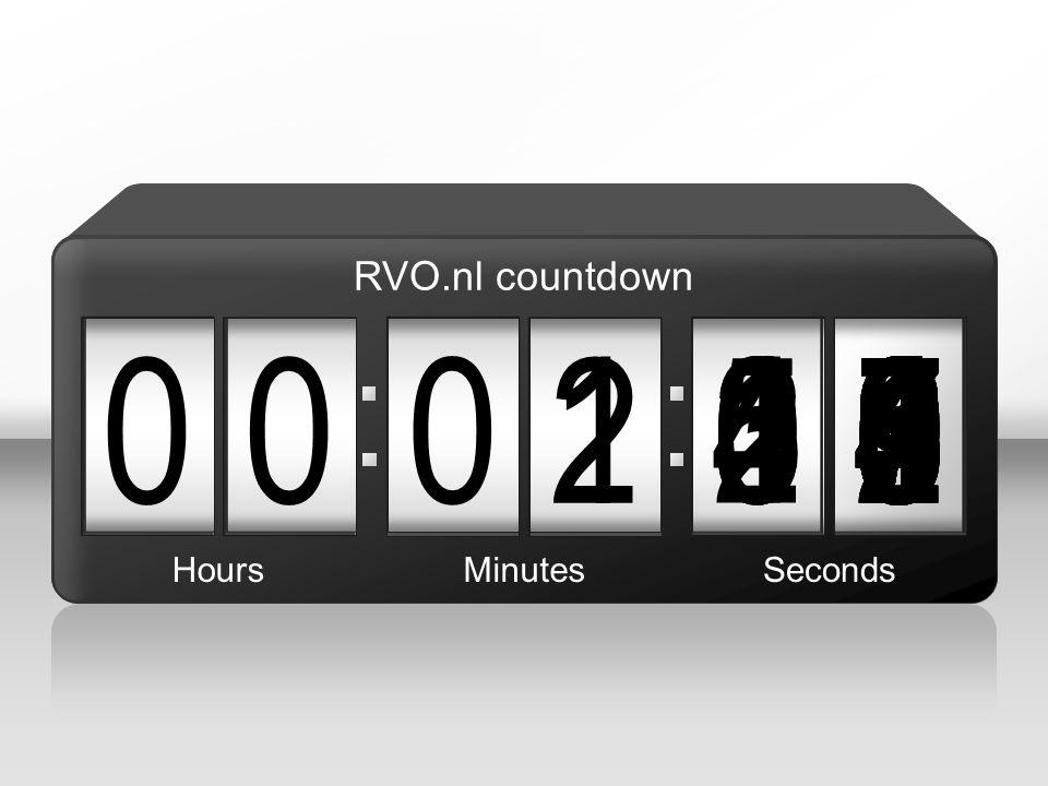 090 00 3 876543215 2 004987654321039876543210987654321021987654321098765432100 HoursMinutesSeconds RVO.nl countdown