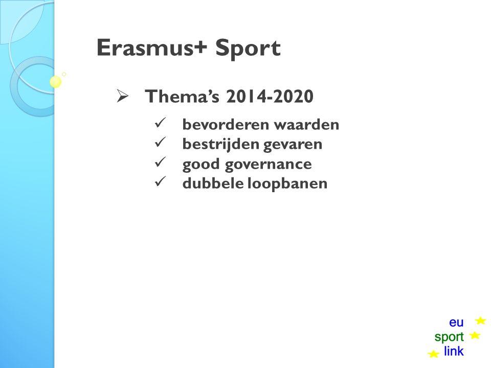 Erasmus+ Sport  Thema's 2014-2020 bevorderen waarden bestrijden gevaren good governance dubbele loopbanen