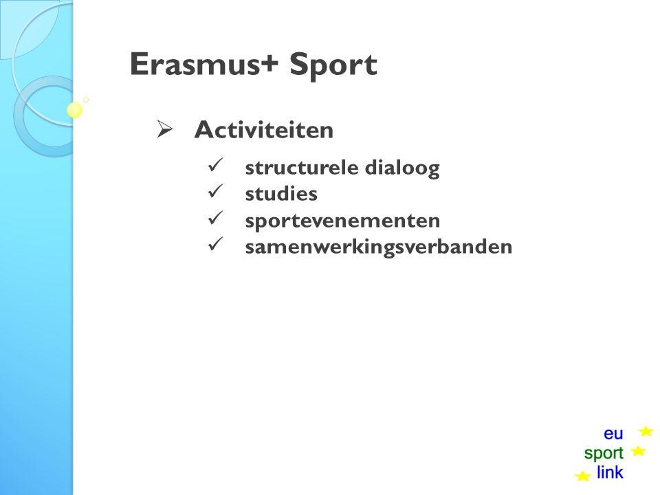 Erasmus+ Sport  Activiteiten structurele dialoog studies sportevenementen samenwerkingsverbanden