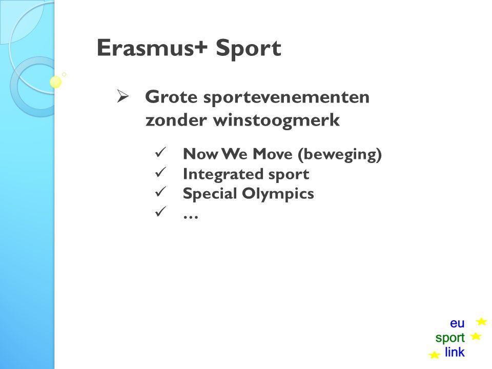 Erasmus+ Sport  Grote sportevenementen zonder winstoogmerk Now We Move (beweging) Integrated sport Special Olympics …