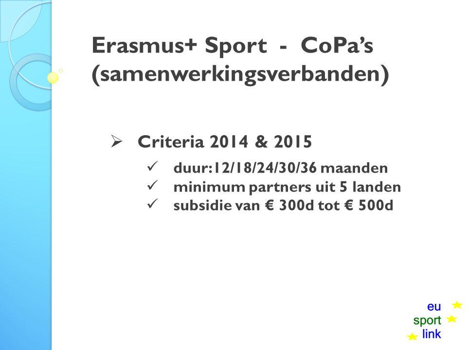 Erasmus+ Sport - CoPa's (samenwerkingsverbanden)  Criteria 2014 & 2015 duur:12/18/24/30/36 maanden minimum partners uit 5 landen subsidie van € 300d tot € 500d