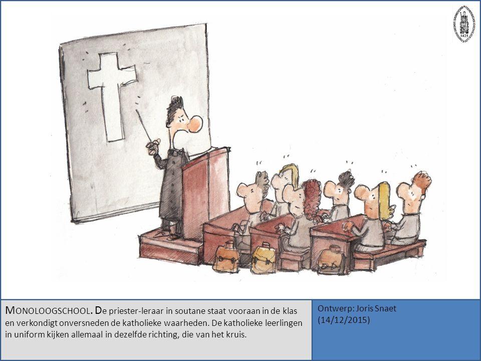 M ONOLOOGSCHOOL. D e priester-leraar in soutane staat vooraan in de klas en verkondigt onversneden de katholieke waarheden. De katholieke leerlingen i