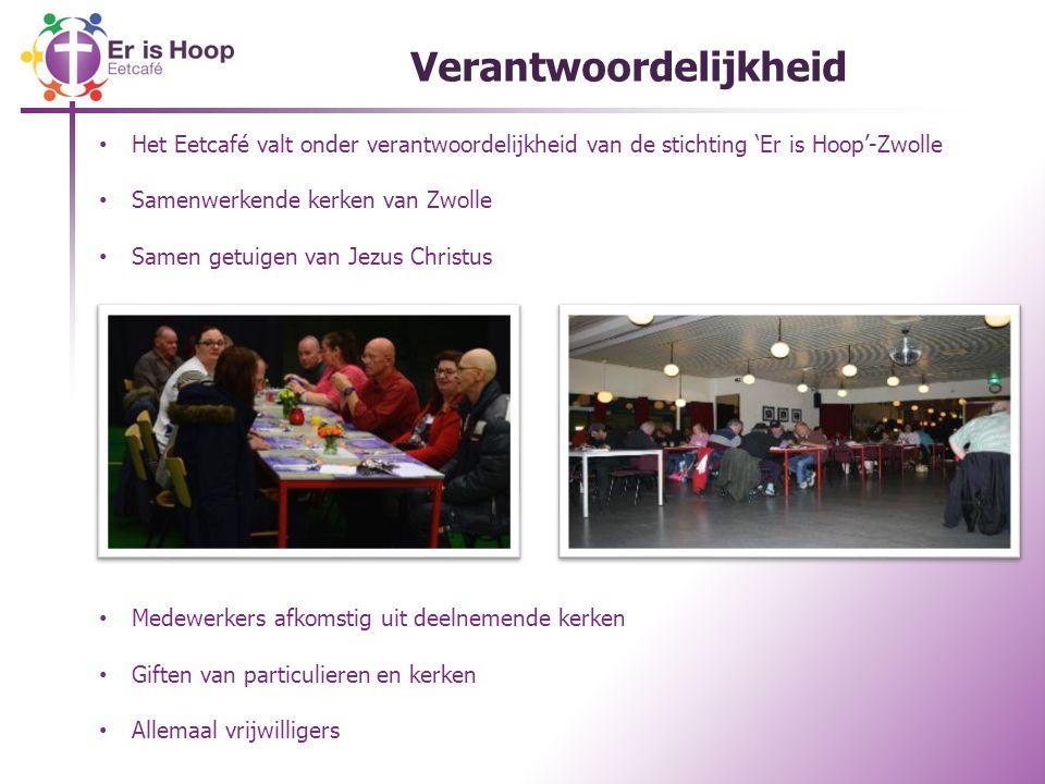 Verantwoordelijkheid Het Eetcafé valt onder verantwoordelijkheid van de stichting 'Er is Hoop'-Zwolle Samenwerkende kerken van Zwolle Samen getuigen van Jezus Christus Medewerkers afkomstig uit deelnemende kerken Giften van particulieren en kerken Allemaal vrijwilligers