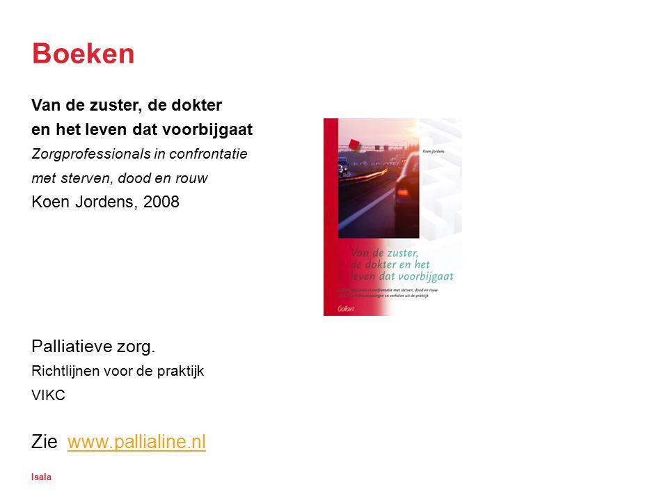 Isala Boeken Van de zuster, de dokter en het leven dat voorbijgaat Zorgprofessionals in confrontatie met sterven, dood en rouw Koen Jordens, 2008 Pall
