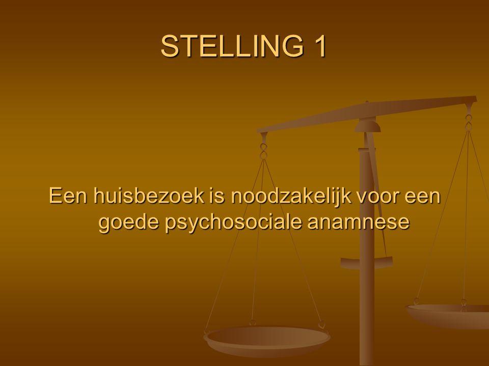STELLING 1 Een huisbezoek is noodzakelijk voor een goede psychosociale anamnese
