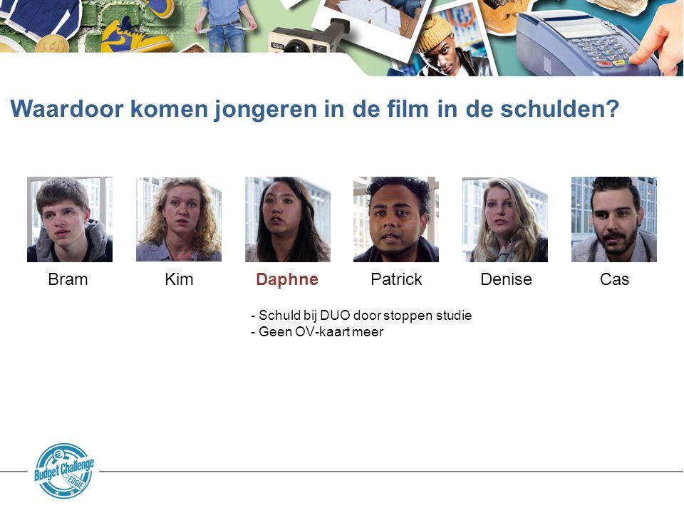 Waardoor komen jongeren in de film in de schulden? Bram Kim Daphne Patrick Denise Cas - Schuld bij DUO door stoppen studie - Geen OV-kaart meer