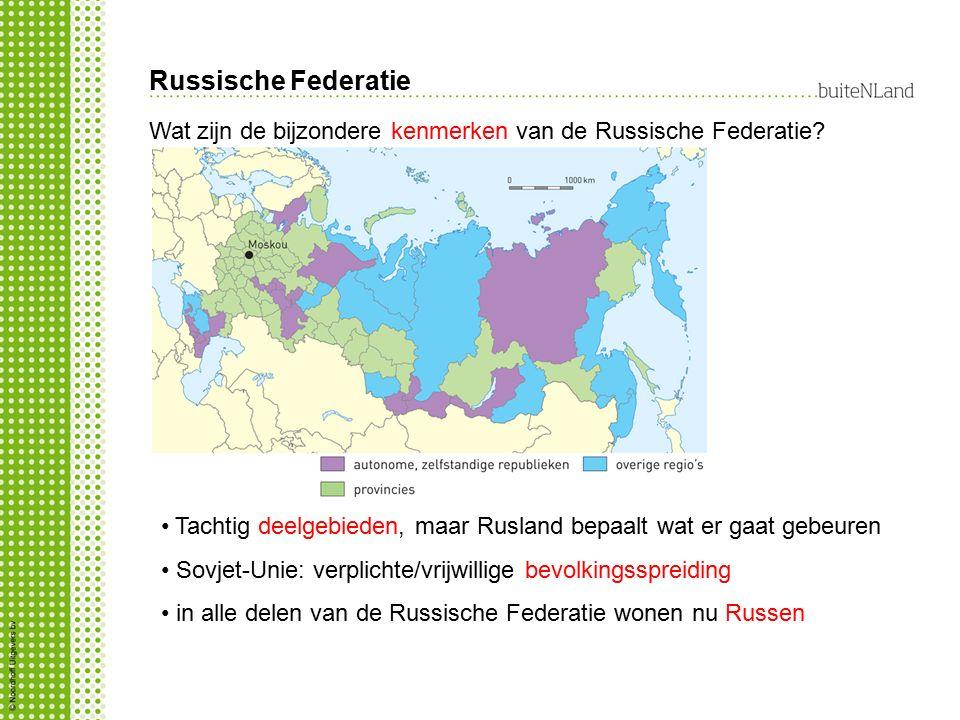 Russische Federatie Tachtig deelgebieden, maar Rusland bepaalt wat er gaat gebeuren Sovjet-Unie: verplichte/vrijwillige bevolkingsspreiding in alle delen van de Russische Federatie wonen nu Russen Wat zijn de bijzondere kenmerken van de Russische Federatie?