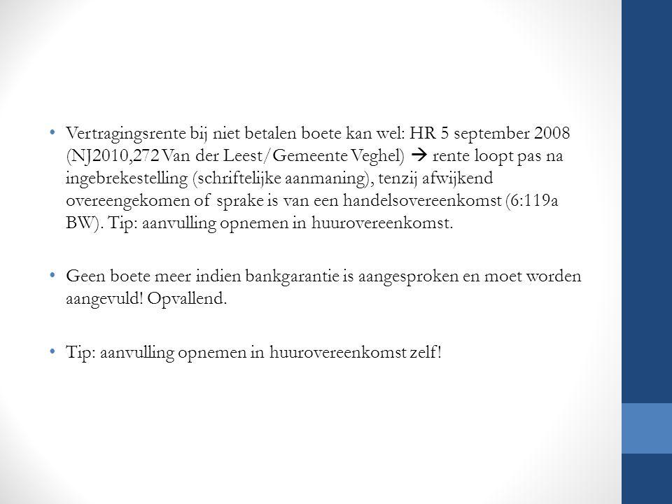 Vertragingsrente bij niet betalen boete kan wel: HR 5 september 2008 (NJ2010,272 Van der Leest/Gemeente Veghel)  rente loopt pas na ingebrekestelling