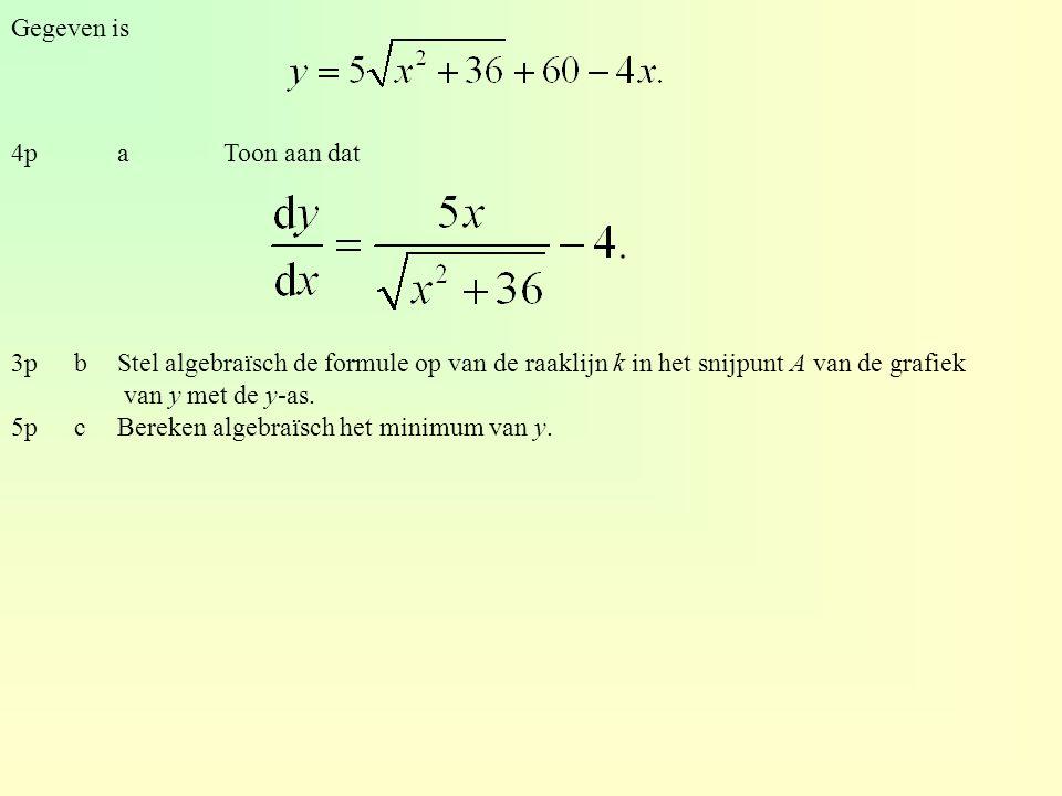 Gegeven is 4paToon aan dat 3pbStel algebraïsch de formule op van de raaklijn k in het snijpunt A van de grafiek van y met de y-as. 5pcBereken algebraï