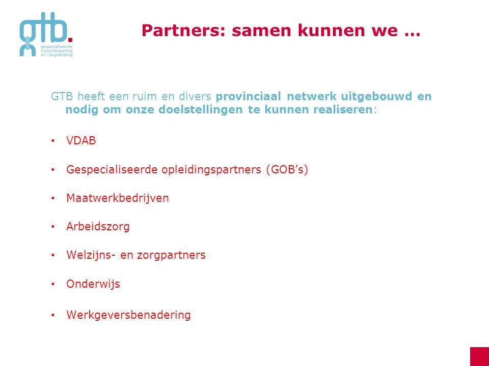 GTB heeft een ruim en divers provinciaal netwerk uitgebouwd en nodig om onze doelstellingen te kunnen realiseren: VDAB Gespecialiseerde opleidingspart