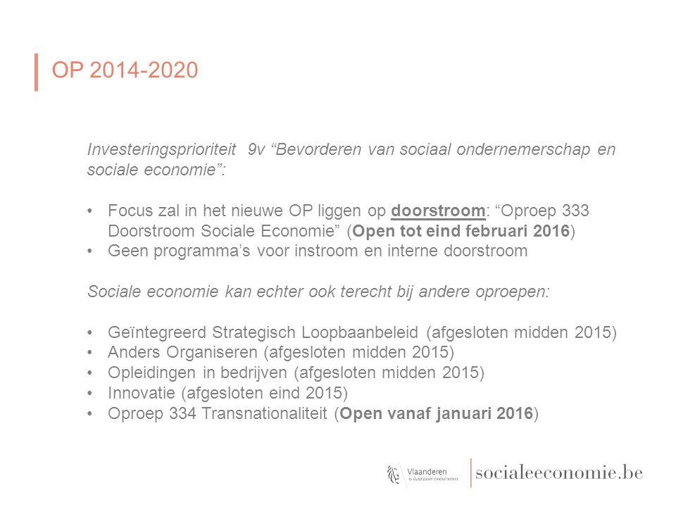 OP 2014-2020: Oproep doorstroom SEC - 333 Voor doelgroepwerknemers uit de Sociale Economie een brug vormen tussen hun huidige en een nieuwe job binnen de reguliere economie.