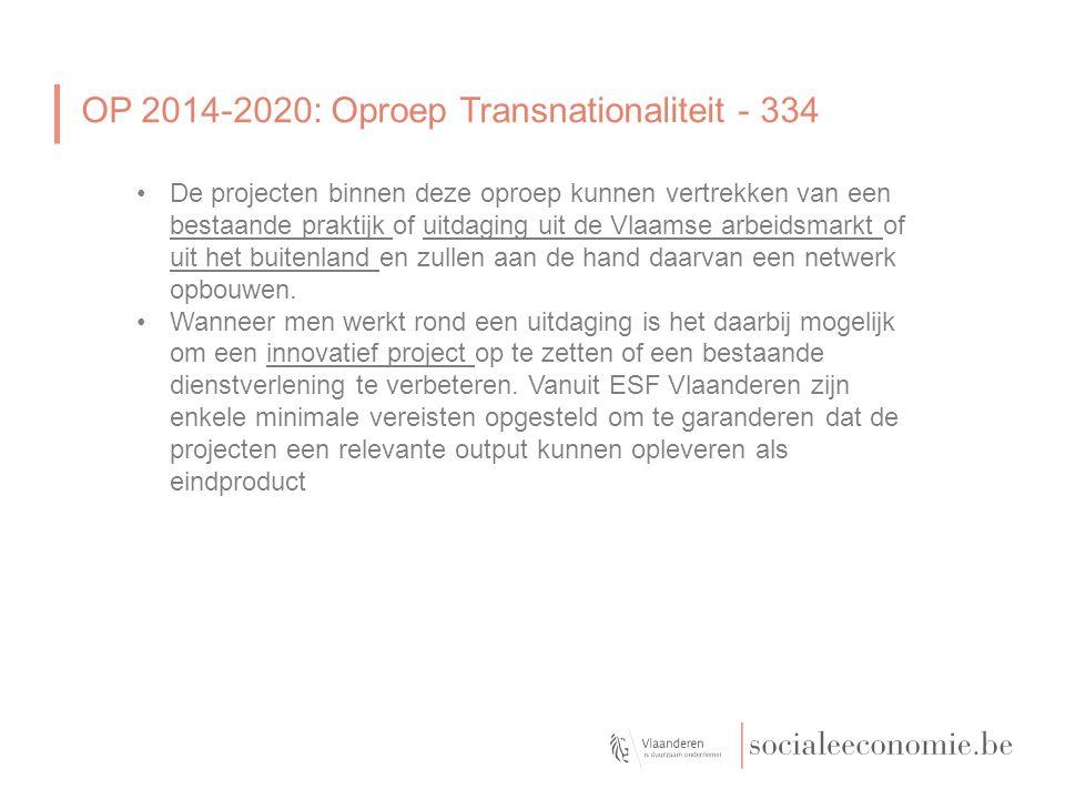 OP 2014-2020: Oproep Transnationaliteit - 334 De projecten binnen deze oproep kunnen vertrekken van een bestaande praktijk of uitdaging uit de Vlaamse arbeidsmarkt of uit het buitenland en zullen aan de hand daarvan een netwerk opbouwen.