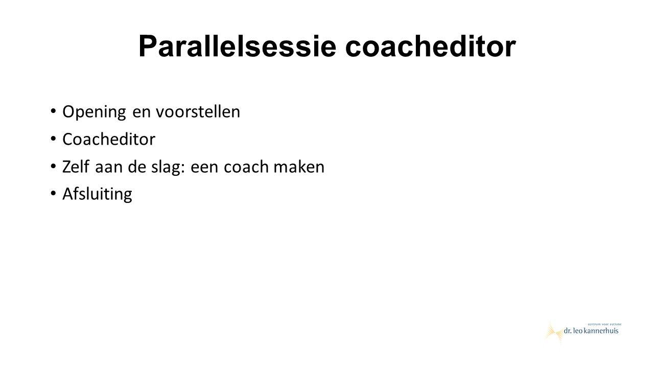 Parallelsessie coacheditor Opening en voorstellen Coacheditor Zelf aan de slag: een coach maken Afsluiting
