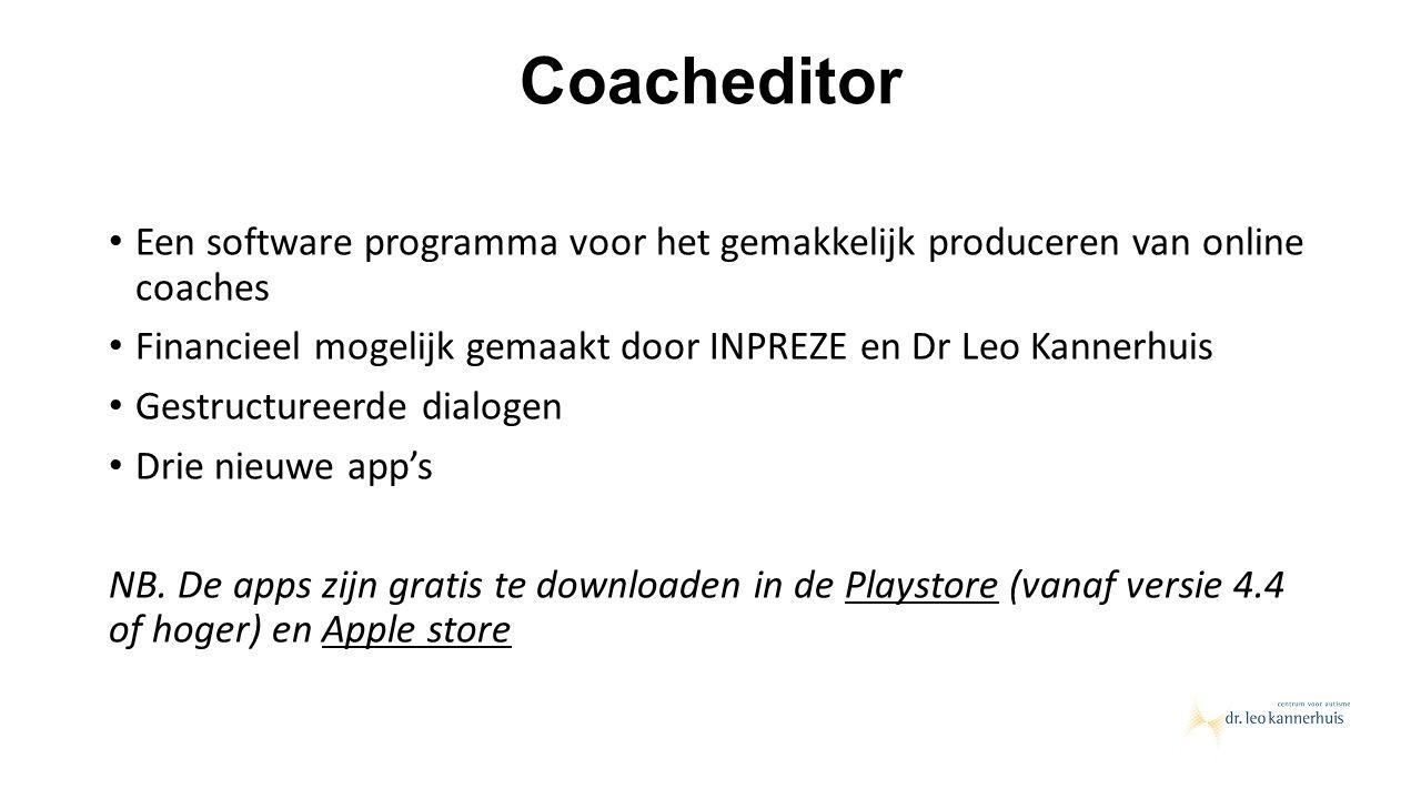 Coacheditor Een software programma voor het gemakkelijk produceren van online coaches Financieel mogelijk gemaakt door INPREZE en Dr Leo Kannerhuis Ge