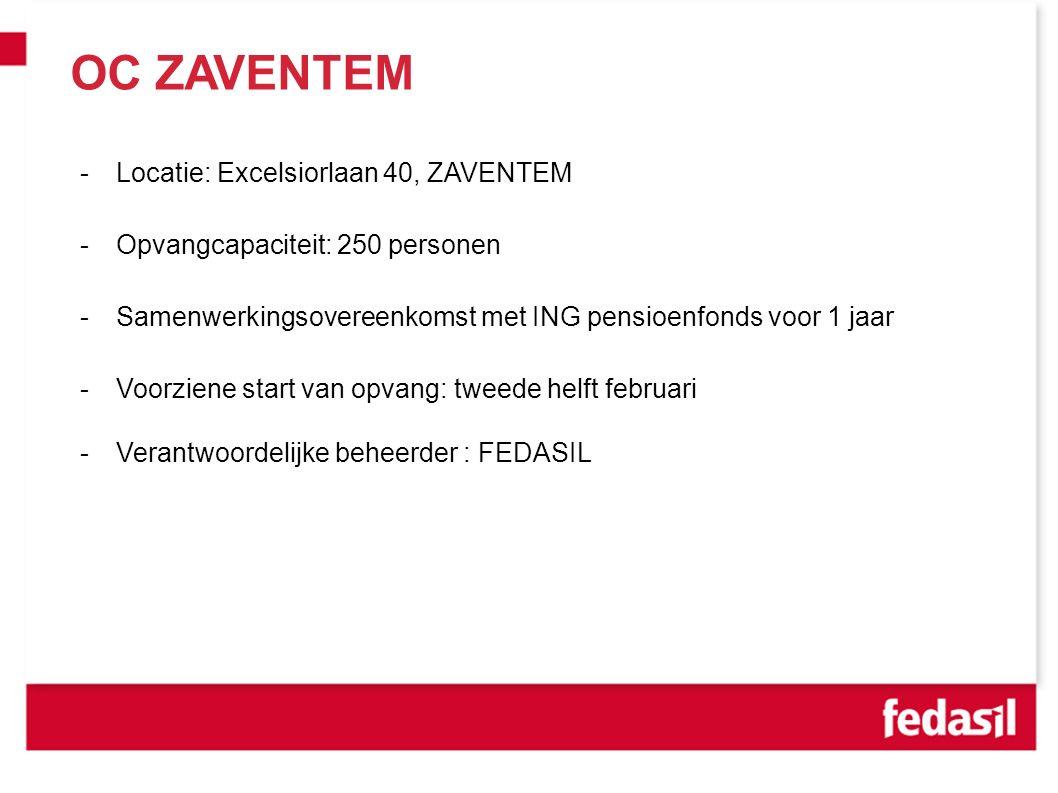 OC ZAVENTEM -Locatie: Excelsiorlaan 40, ZAVENTEM -Opvangcapaciteit: 250 personen -Samenwerkingsovereenkomst met ING pensioenfonds voor 1 jaar -Voorziene start van opvang: tweede helft februari -Verantwoordelijke beheerder : FEDASIL