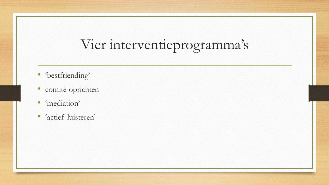 Vier interventieprogramma's 'bestfriending' comité oprichten 'mediation' 'actief luisteren'