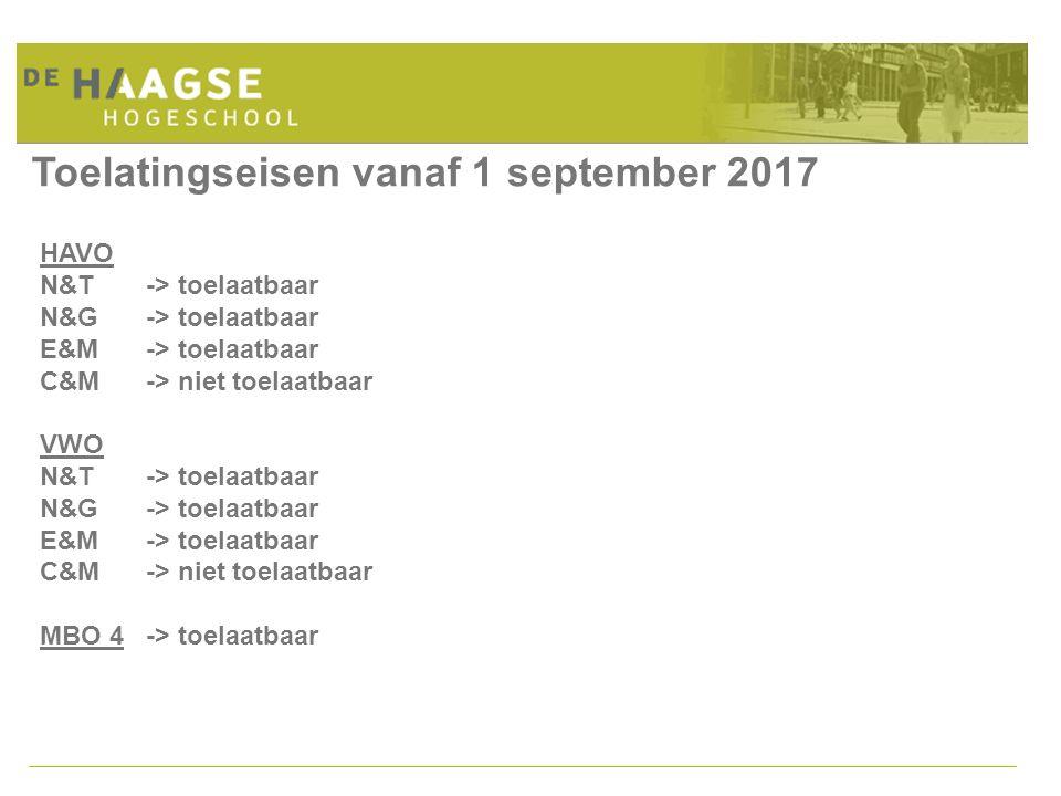 Toelatingseisen vanaf 1 september 2017 HAVO N&T-> toelaatbaar N&G -> toelaatbaar E&M -> toelaatbaar C&M-> niet toelaatbaar VWO N&T-> toelaatbaar N&G -