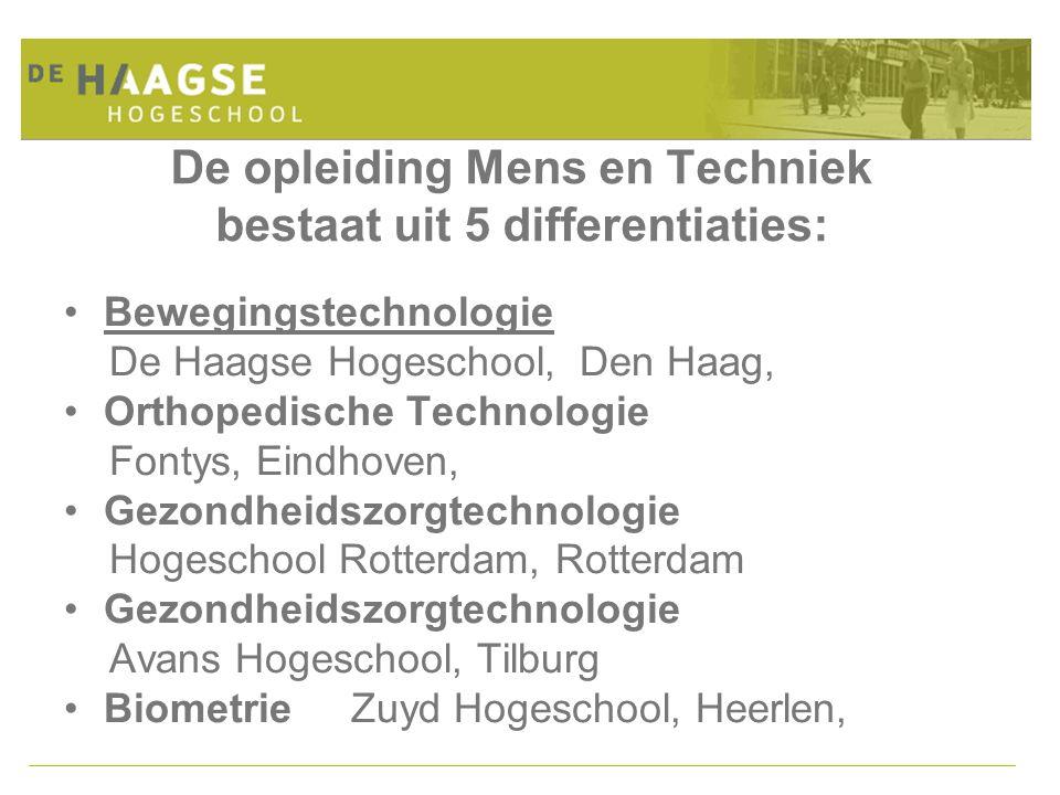 De opleiding Mens en Techniek bestaat uit 5 differentiaties: Bewegingstechnologie De Haagse Hogeschool, Den Haag, Orthopedische Technologie Fontys, Ei