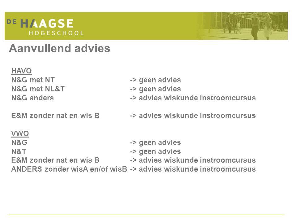 Aanvullend advies HAVO N&G met NT -> geen advies N&G met NL&T -> geen advies N&G anders -> advies wiskunde instroomcursus E&M zonder nat en wis B-> ad
