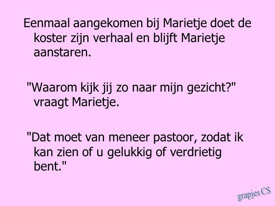 Eenmaal aangekomen bij Marietje doet de koster zijn verhaal en blijft Marietje aanstaren.