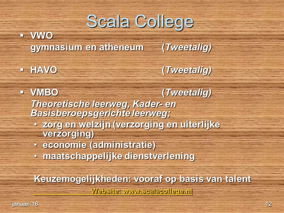 Scala College  VWO gymnasium en atheneum (Tweetalig)  HAVO (Tweetalig)  VMBO (Tweetalig) Theoretische leerweg, Kader- en Basisberoepsgerichte leerweg; zorg en welzijn (verzorging en uiterlijke verzorging)zorg en welzijn (verzorging en uiterlijke verzorging) economie (administratie)economie (administratie) maatschappelijke dienstverleningmaatschappelijke dienstverlening Keuzemogelijkheden: vooraf op basis van talent Website: www.scalacollege.nl Website: www.scalacollege.nl januari '1612