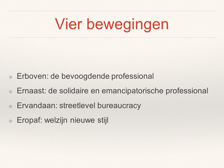 Vier bewegingen ❖ Erboven: de bevoogdende professional ❖ Ernaast: de solidaire en emancipatorische professional ❖ Ervandaan: streetlevel bureaucracy ❖