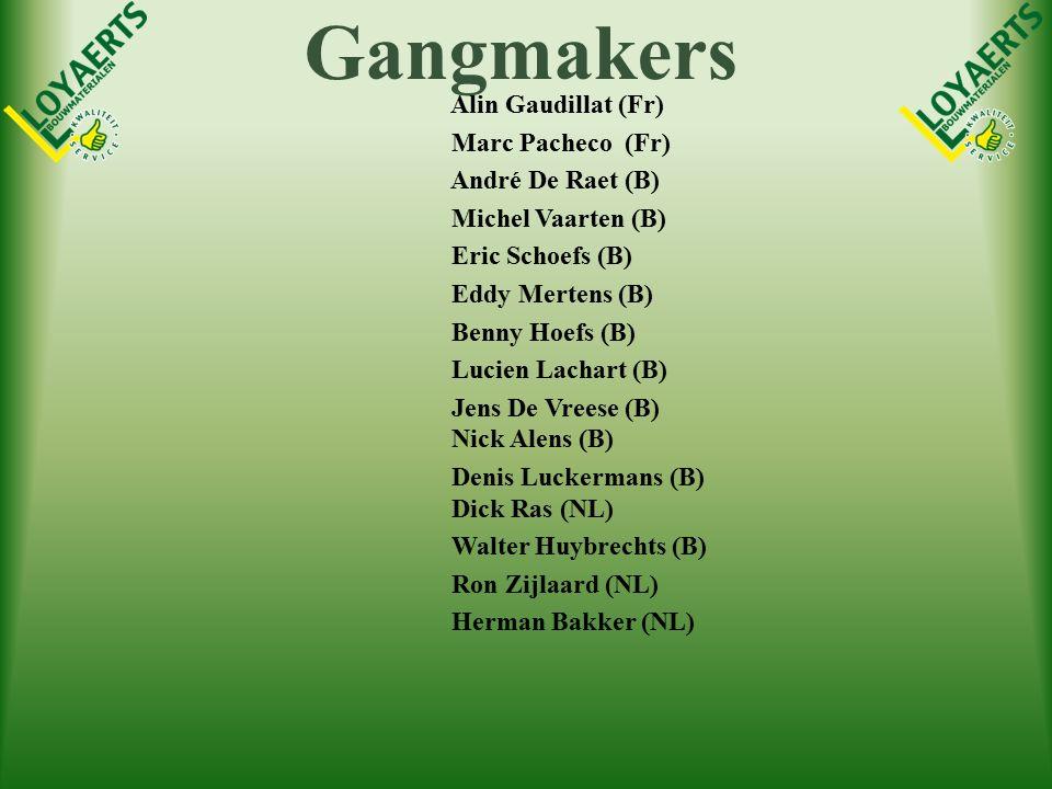 Gangmakers Alin Gaudillat (Fr) Marc Pacheco (Fr) André De Raet (B) Michel Vaarten (B) Eric Schoefs (B) Eddy Mertens (B) Benny Hoefs (B) Lucien Lachart (B) Jens De Vreese (B) Nick Alens (B) Denis Luckermans (B) Dick Ras (NL) Walter Huybrechts (B) Ron Zijlaard (NL) Herman Bakker (NL)