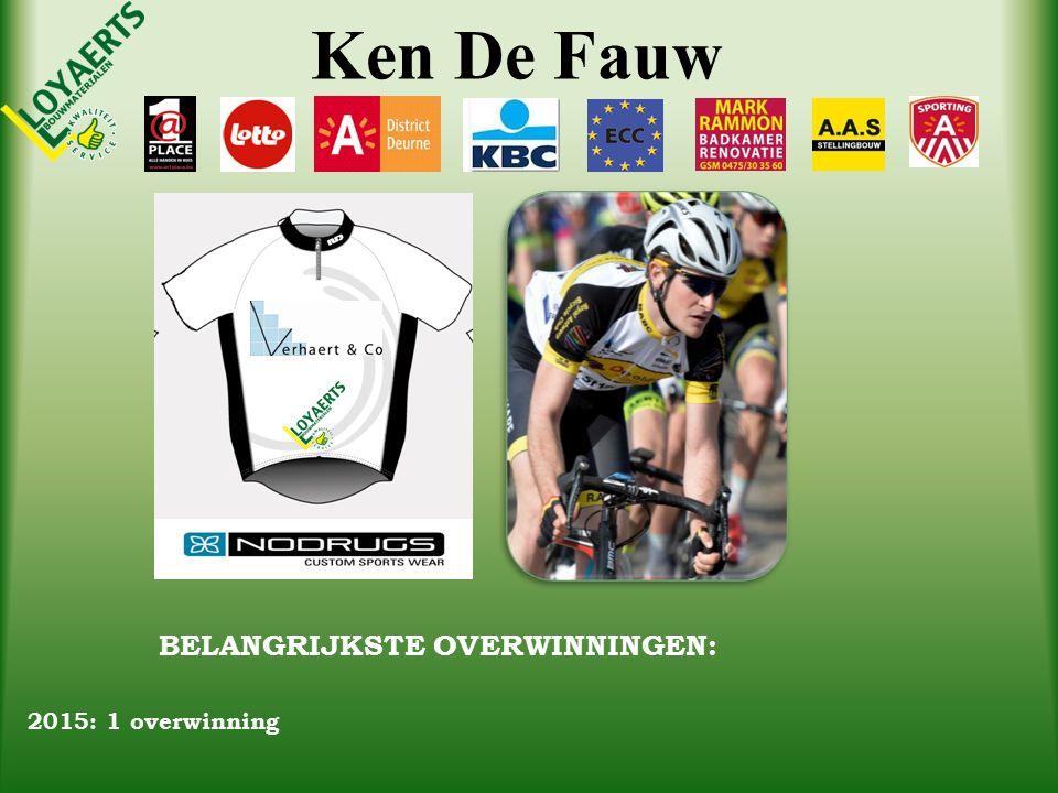 Ken De Fauw BELANGRIJKSTE OVERWINNINGEN: 2015: 1 overwinning