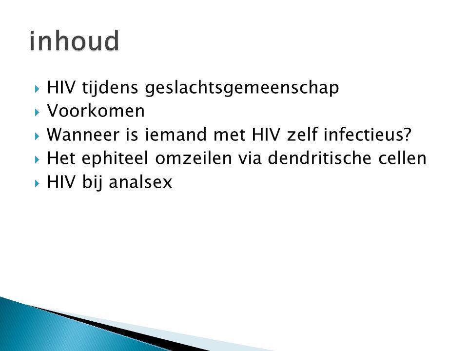  HIV tijdens geslachtsgemeenschap  Voorkomen  Wanneer is iemand met HIV zelf infectieus.
