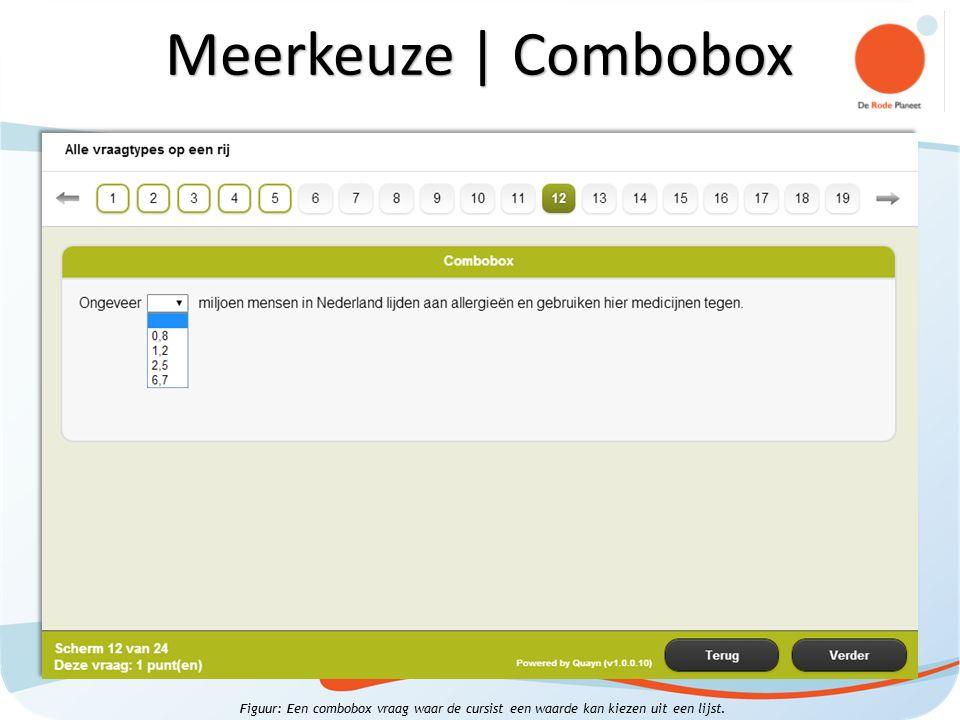 Figuur: Een combobox vraag waar de cursist een waarde kan kiezen uit een lijst. Meerkeuze | Combobox