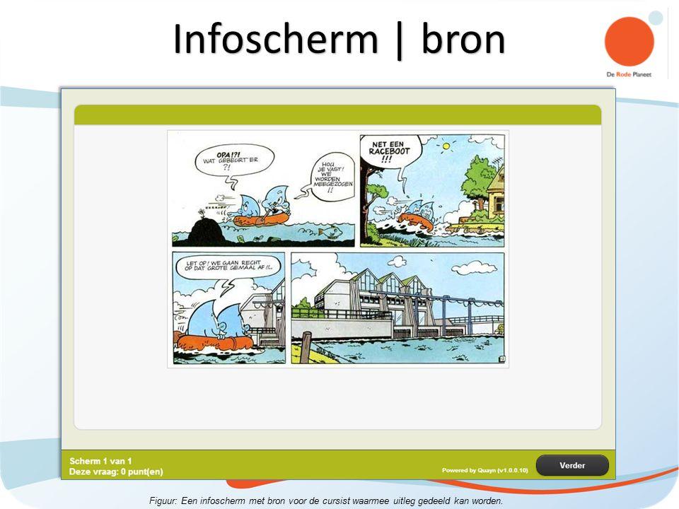 Figuur: Een infoscherm met bron voor de cursist waarmee uitleg gedeeld kan worden. Infoscherm | bron
