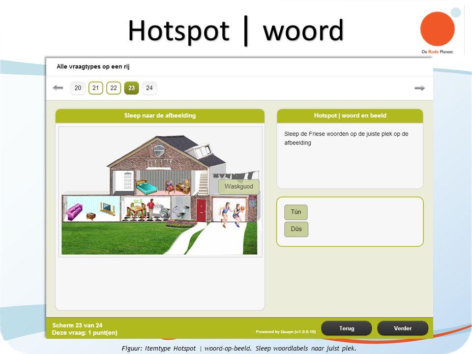 Figuur: Itemtype Hotspot | woord-op-beeld. Sleep woordlabels naar juist plek. Hotspot | woord