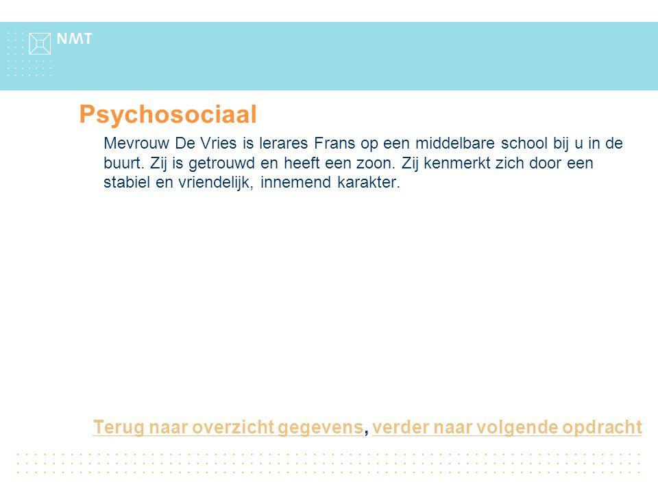 Psychosociaal Mevrouw De Vries is lerares Frans op een middelbare school bij u in de buurt.