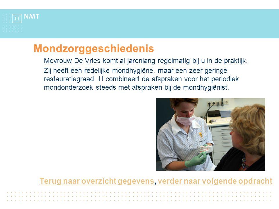 Mondzorggeschiedenis Mevrouw De Vries komt al jarenlang regelmatig bij u in de praktijk.
