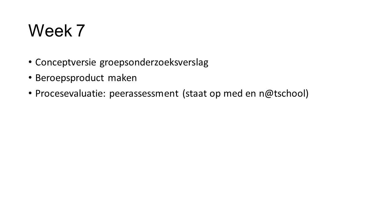 Week 7 Conceptversie groepsonderzoeksverslag Beroepsproduct maken Procesevaluatie: peerassessment (staat op med en n@tschool)