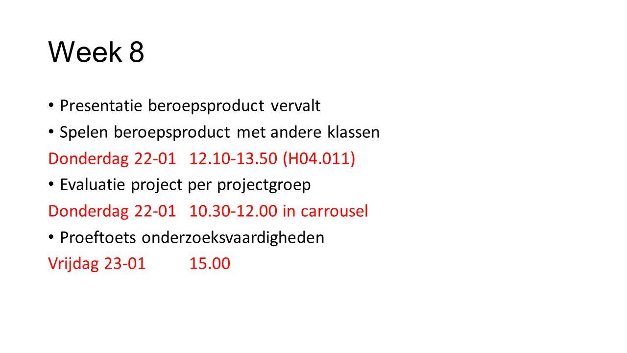 Week 9 Inleveren: Onderzoeksverslag groep Beroepsproduct (verantwoording op n@tschool, spel bij docent) Individueel procesverslag Toets onderzoeksvaardigheden