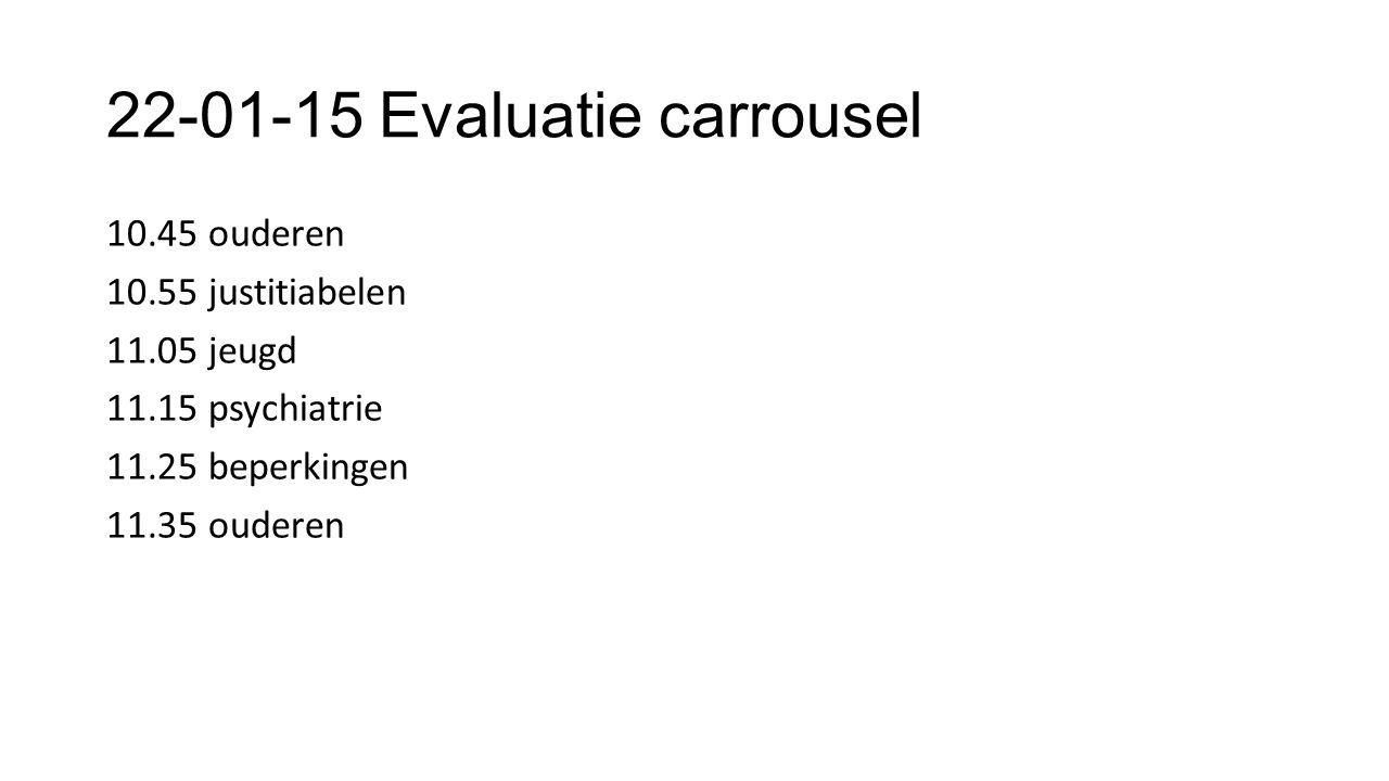 22-01-15 Evaluatie carrousel 10.45 ouderen 10.55 justitiabelen 11.05 jeugd 11.15 psychiatrie 11.25 beperkingen 11.35 ouderen