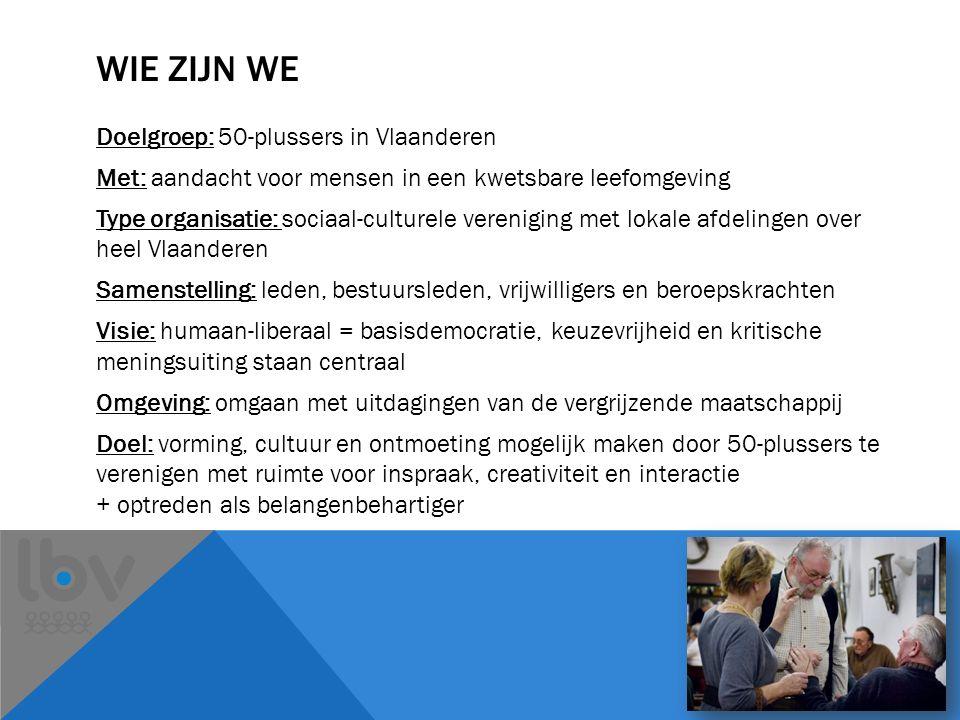 WIE ZIJN WE Doelgroep: 50-plussers in Vlaanderen Met: aandacht voor mensen in een kwetsbare leefomgeving Type organisatie: sociaal-culturele vereniging met lokale afdelingen over heel Vlaanderen Samenstelling: leden, bestuursleden, vrijwilligers en beroepskrachten Visie: humaan-liberaal = basisdemocratie, keuzevrijheid en kritische meningsuiting staan centraal Omgeving: omgaan met uitdagingen van de vergrijzende maatschappij Doel: vorming, cultuur en ontmoeting mogelijk maken door 50-plussers te verenigen met ruimte voor inspraak, creativiteit en interactie + optreden als belangenbehartiger