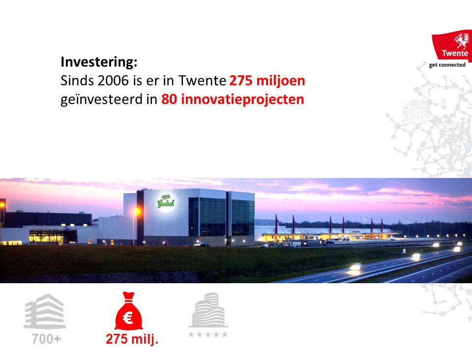 Investering: Sinds 2006 is er in Twente 275 miljoen geïnvesteerd in 80 innovatieprojecten 700+ 275 milj.