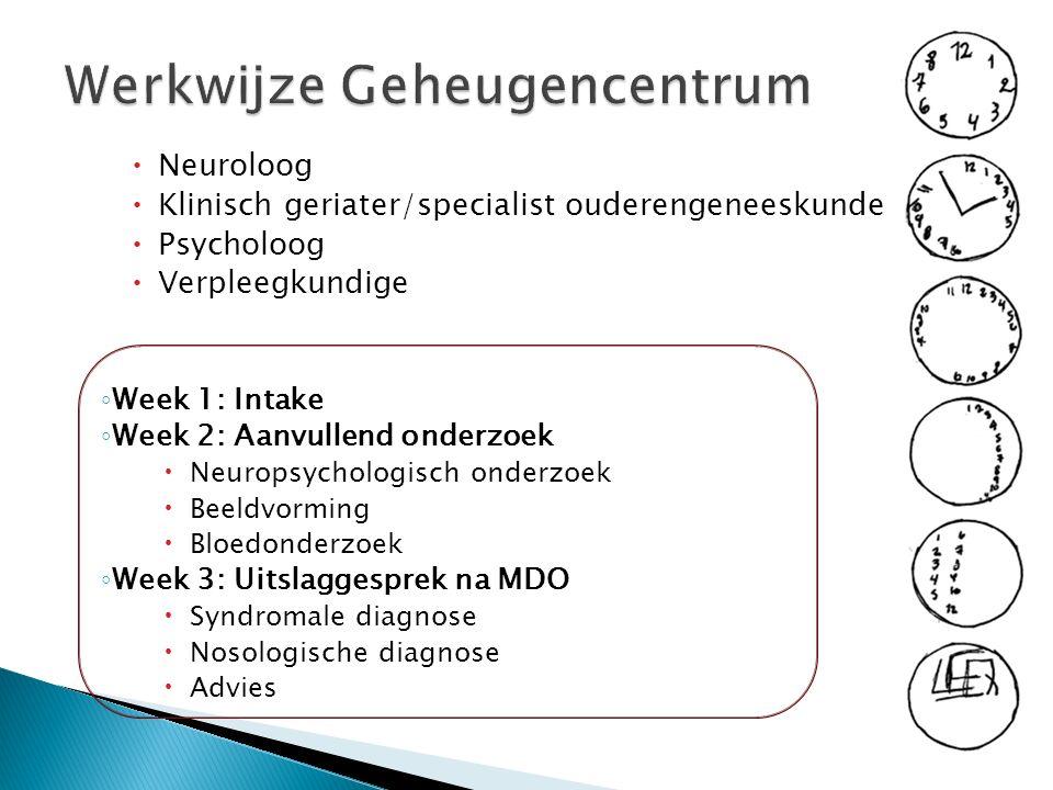 Werkwijze Geheugencentrum  Neuroloog  Klinisch geriater/specialist ouderengeneeskunde  Psycholoog  Verpleegkundige ◦ Week 1: Intake ◦ Week 2: Aanvullend onderzoek  Neuropsychologisch onderzoek  Beeldvorming  Bloedonderzoek ◦ Week 3: Uitslaggesprek na MDO  Syndromale diagnose  Nosologische diagnose  Advies
