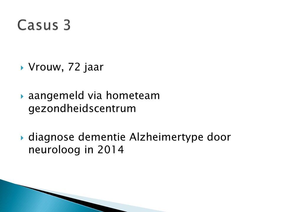  Vrouw, 72 jaar  aangemeld via hometeam gezondheidscentrum  diagnose dementie Alzheimertype door neuroloog in 2014