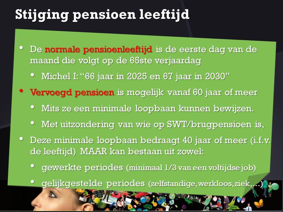Stijging pensioen leeftijd De normale pensioenleeftijd is de eerste dag van de maand die volgt op de 65ste verjaardag De normale pensioenleeftijd is d