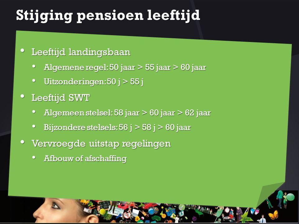 Stijging pensioen leeftijd Leeftijd landingsbaan Leeftijd landingsbaan Algemene regel: 50 jaar > 55 jaar > 60 jaar Algemene regel: 50 jaar > 55 jaar >