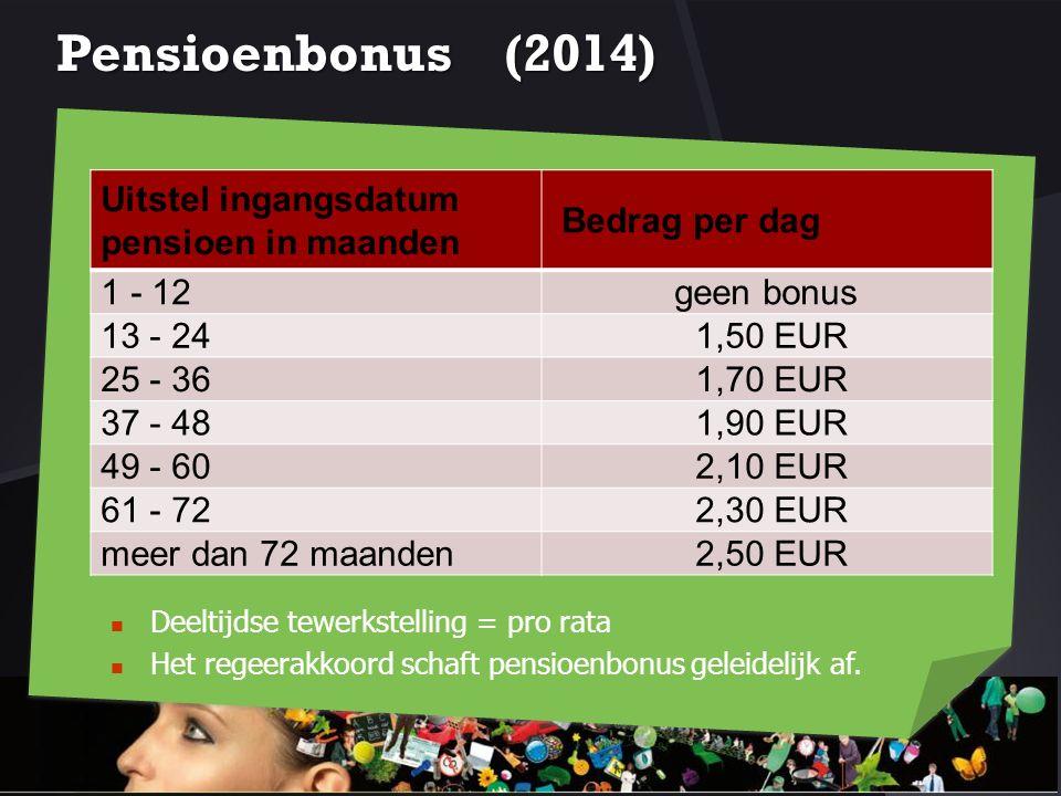Pensioenbonus (2014) Uitstel ingangsdatum pensioen in maanden Bedrag per dag 1 - 12geen bonus 13 - 241,50 EUR 25 - 361,70 EUR 37 - 481,90 EUR 49 - 602