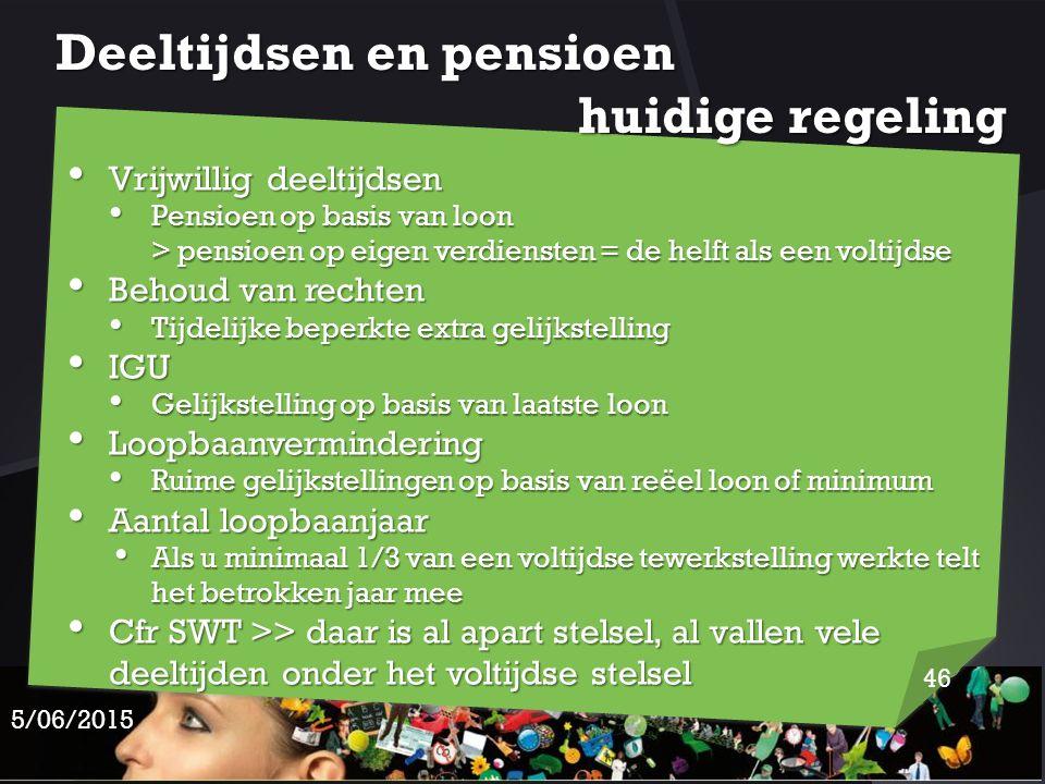 Deeltijdsen en pensioen huidige regeling Vrijwillig deeltijdsen Vrijwillig deeltijdsen Pensioen op basis van loon > pensioen op eigen verdiensten = de