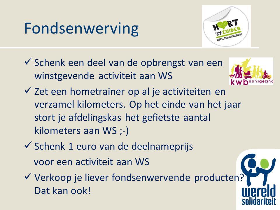 Fondsenwerving Schenk een deel van de opbrengst van een winstgevende activiteit aan WS Zet een hometrainer op al je activiteiten en verzamel kilometers.
