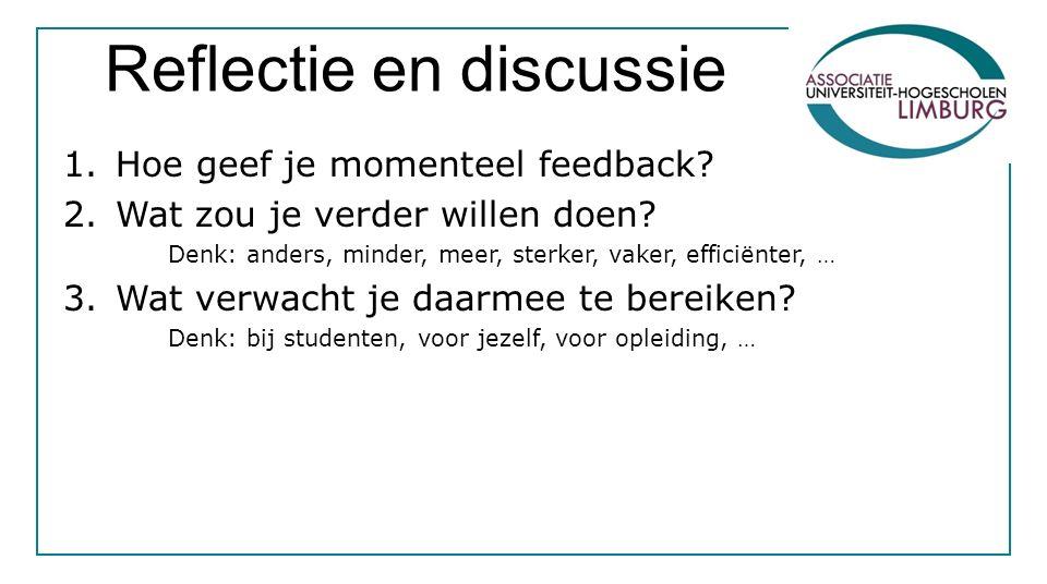 Reflectie en discussie 1.Hoe geef je momenteel feedback? 2.Wat zou je verder willen doen? Denk: anders, minder, meer, sterker, vaker, efficiënter, … 3