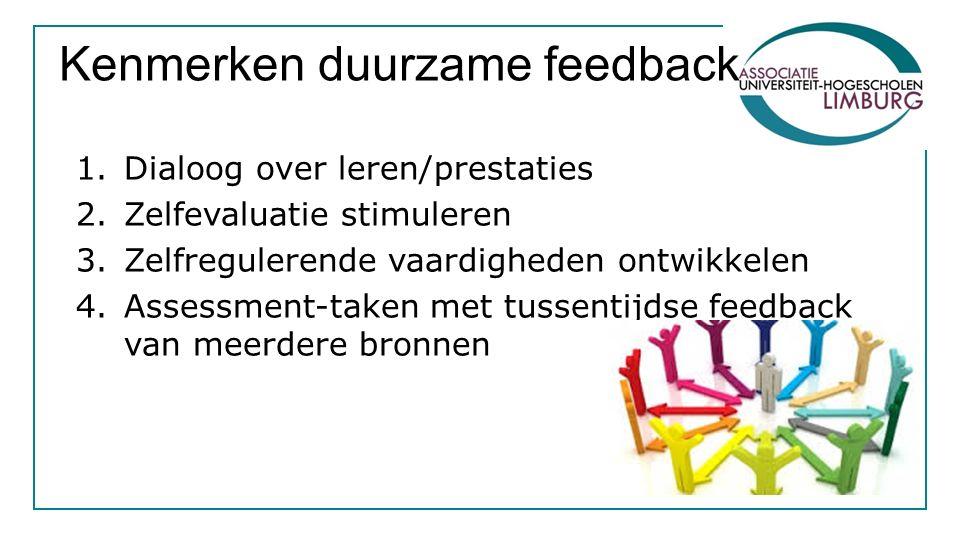 Kenmerken duurzame feedback 1.Dialoog over leren/prestaties 2.Zelfevaluatie stimuleren 3.Zelfregulerende vaardigheden ontwikkelen 4.Assessment-taken m